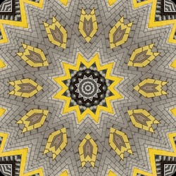 abstract background of railway pattern of a kaleidoscope. grey bricks and yellow line background fractal mandala. abstract kaleidoscopic arabesque. geometrical ornament pattern