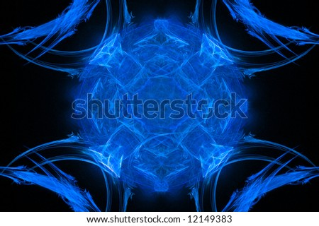 Abstract background of shining blue sphere over black