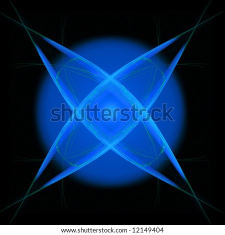 Abstract background of shining blue star over black - stock photo
