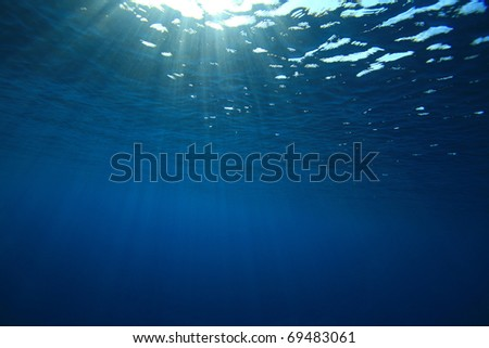 Abstract background of sunbeams in blue sea water