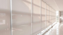 Abstract background of sunshade curtain in building, Sunproof curtain in office