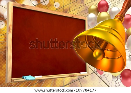 abstract background of the school.hand-bell on the background of the school board