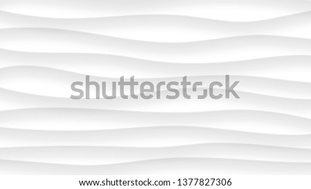 Abstract background of wavy lines with shadows in white and gray colors