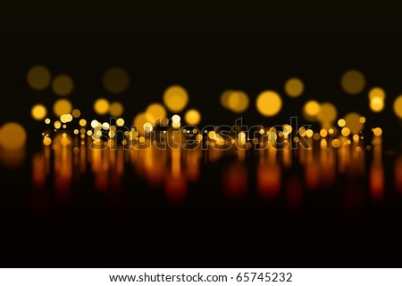 Abstract background - orange lights with reflection