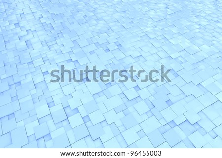 Abstract background pattern with blue 3D cubes - stock photo