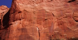 Abstract background patterns - sheer cliff face rises along the Taylor Creek trail, Kolob Canyon, Zion National Park, Utah