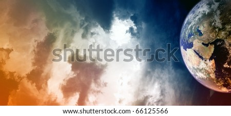 Abstract background - planet in cloudy space