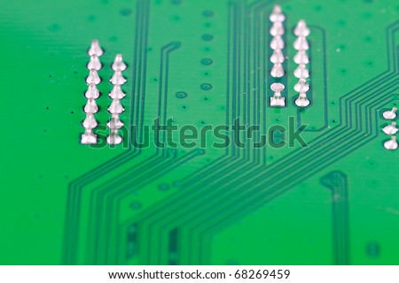 Abstract background printed circuit board with shallow depth of field