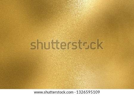 Abstract background, shiny yellow metal foil texture #1326595109