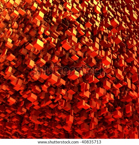 Abstract background showing a Red cluster of 3D blocks