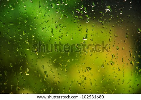 abstract  background showing a window with raindrops rolling off