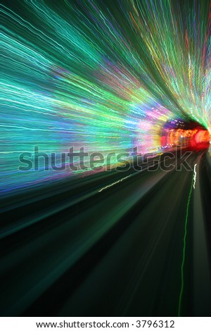 abstract background sparkling light waves in deep tunnel turning right, vertical orientation