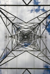 Abstract background texture image of power transmission lines running behind the metal lattice frame work of an electrical transmission tower.
