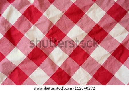 Abstract Background Texture Of A Red And White Checkered Picnic Blanket