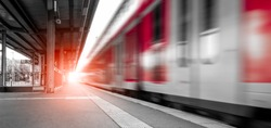 Abstract background travel of public transportation with blur speed motion movement of train on railway tunnel subway