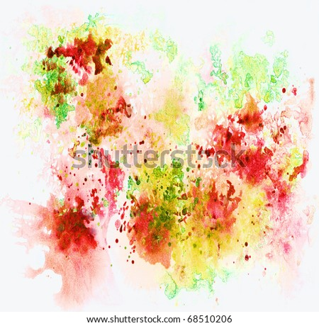 Abstract background, watercolor, hand painted on a paper. Pink, red, yellow, white