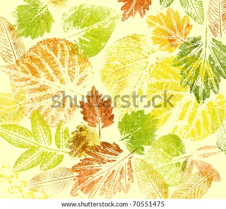 Abstract background, watercolor: leaves, hand painted on a paper