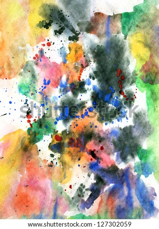 Abstract background watercolor on grunge paper texture with colorful paint splatter