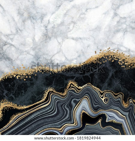 abstract background, white marble, black agate with golden veins, fake painted artificial stone texture, marbled surface, digital marbling illustration