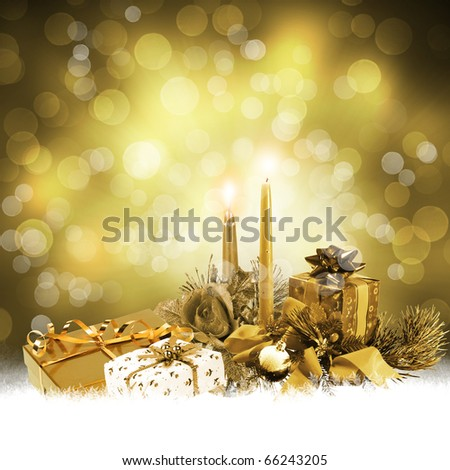 Abstract background with a New Year's gifts and candles. Happy New ...