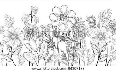 abstract background with a symbolical flowers, monochrome contours - stock photo
