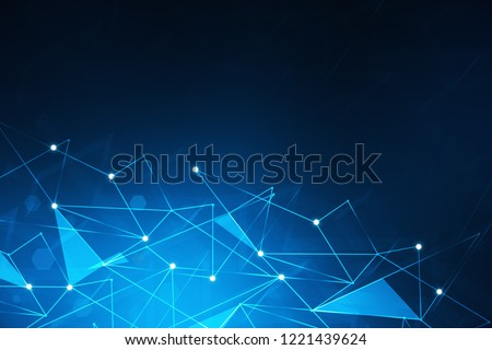 Abstract background with blue polygonal lines and hexagons. Concept of hi tech and future. 3d rendering toned image double exposure