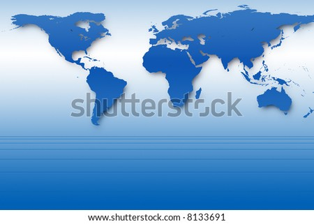 Abstract background with blue world map and perspective lines