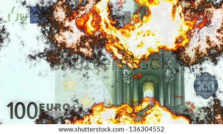 Abstract background with burning money, 100 euro in fire.