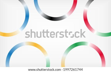 Abstract background with circles. Along the perimeter of the sheet there are five rings of different colors with a gradient. space for text.