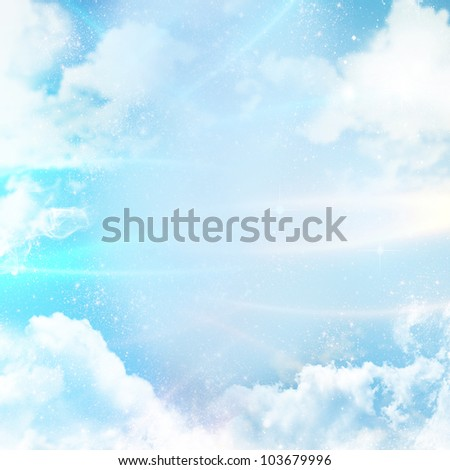 Abstract background with clouds and digital lines