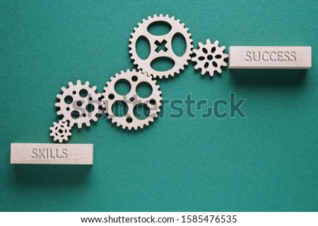 Abstract background with connected gears working together, from skills to success. Creative development process. Business concept. Stock photo ©