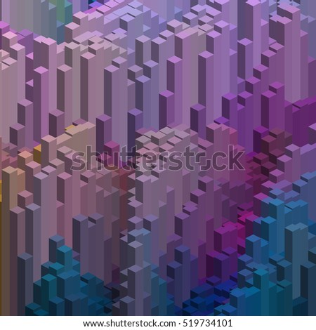 Abstract background with cube decoration. Pink, purple, blue colors.