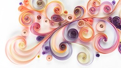 Abstract background with curled colored paper in quilling technique. Paper filigree floral pattern. Quilling paper elements for art panel. Floral banner in quilling technique for design template.