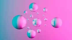 Abstract background with dynamic 3d spheres floating in space, Pastel pink and blue colors, Modern trendy banner or poster design, 3D render illustration, dimensional geometric shapes