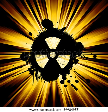 abstract background with exploding rays nuclear hazard symbol