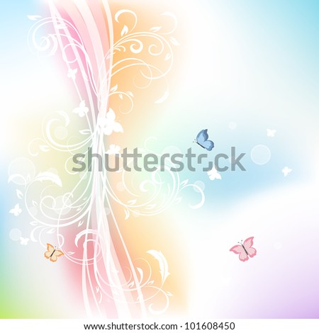 Abstract background with floral elements and butterflies, illustration