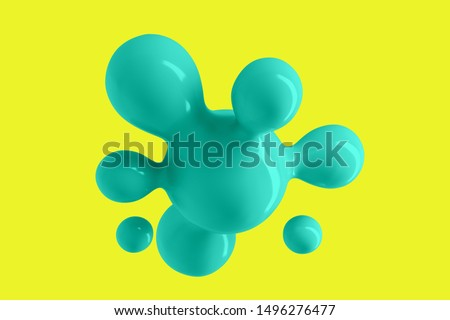 Abstract background with flying shiny drops of liquid 3D illustration #1496276477