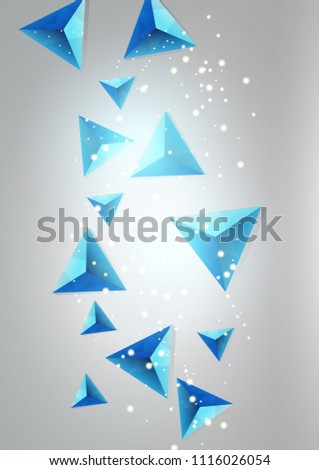Abstract background with flying triangles.