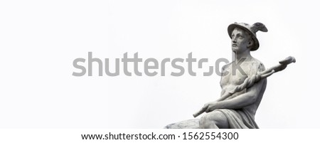 abstract background with fragment of ancient statue of god Hermes (Mercury), personification of success, prosperity, patron saint of business, commerce, merchants, entrepreneurs and travelers.