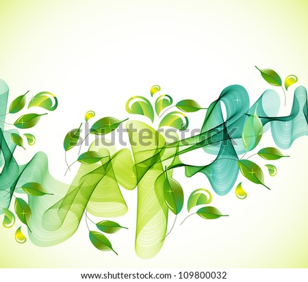 abstract background with fresh green leaves and wave, illustration for your design