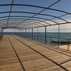 Abstract Background With Geometric Linear Pattern From Metalwork Or Framework And Black Parallel Shadows In Perspective View. Sundeck Pier Without Tent.