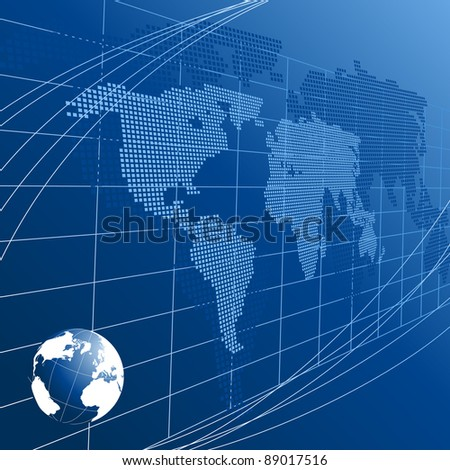 Abstract background with globe and map of the world