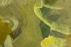 Abstract background with green and yellow oil paint on canvas. Close-up of brushstrokes in the painting. Olive green and lemon yellow paint. Handmade background design with canvas texture.Oil painting