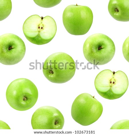 Abstract background with green fresh apples. Isolated on white. Seamless pattern for your design. Close-up. Studio photography.