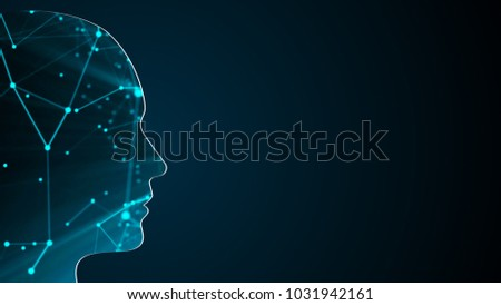 Abstract background with human head. Technology concept backdrop. 3d rendering digital background