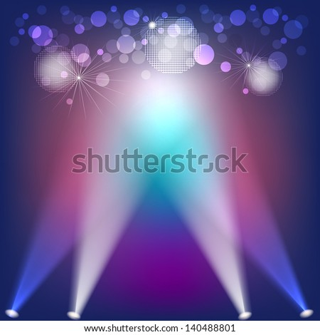 Abstract background with lights and disco balls. Raster copy of vector image