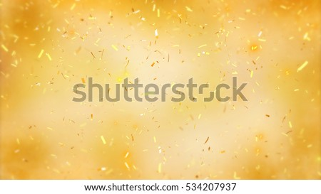 Abstract background with many falling tiny confetti pieces. Randomly flowing confetti backgound. Background for party, celebrate, carnival, birthday. Celebration background with blurred confetti.