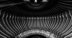 Abstract background with metal part and elements of retro typewriter