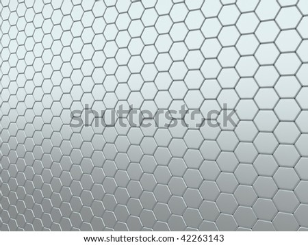 Abstract background with metallic shining cells in perspective (grey)