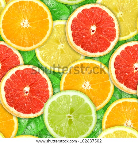 Abstract background with motley citrus-fruit slices and green leaf with dew. Seamless pattern for your design. Close-up. Studio photography. #102637502